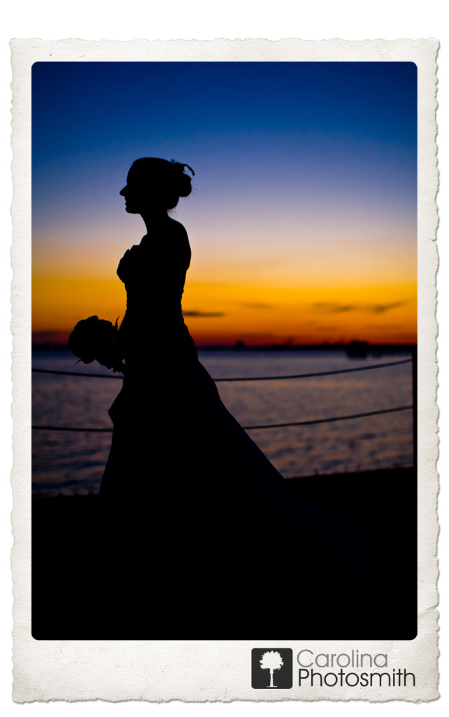 Charleston Wedding Week Bridal Sunset Silhouette by Carolina Photosmith