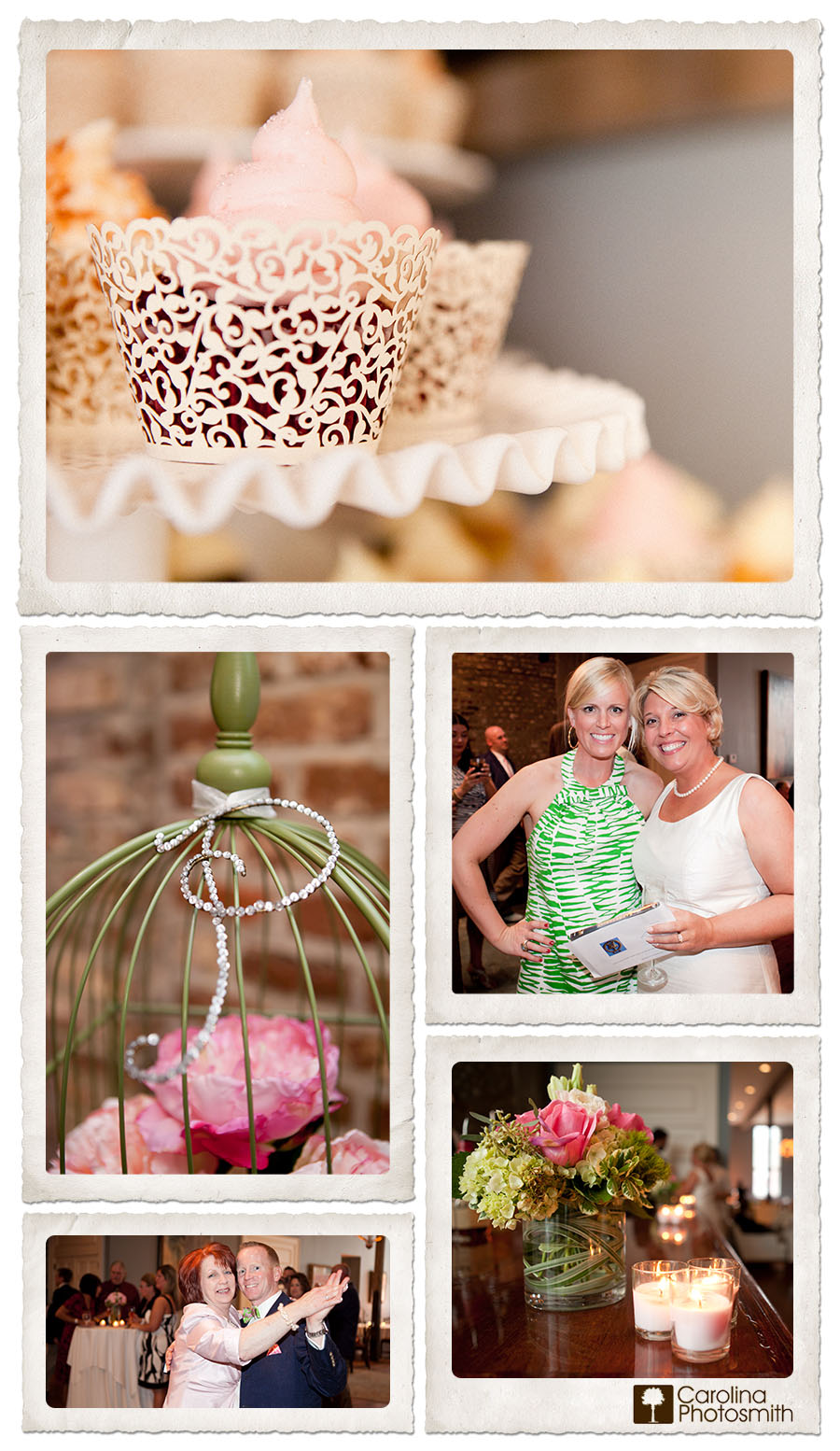 Peonies and cupcakes at intimate McCrady's reception in historic Charleston