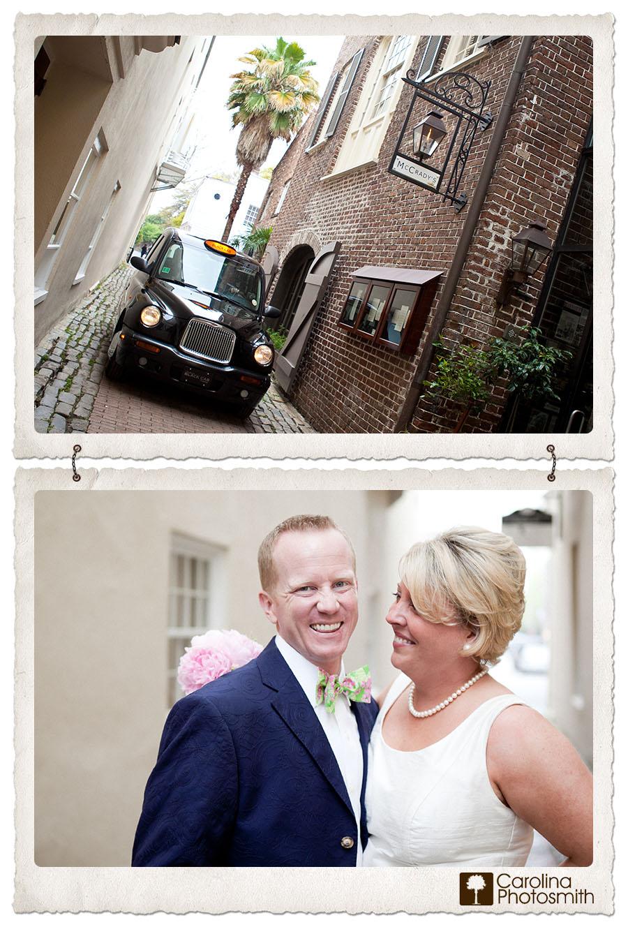 Charleston newlyweds take Black Cab into tiny Unity Alley for reception at McCrady