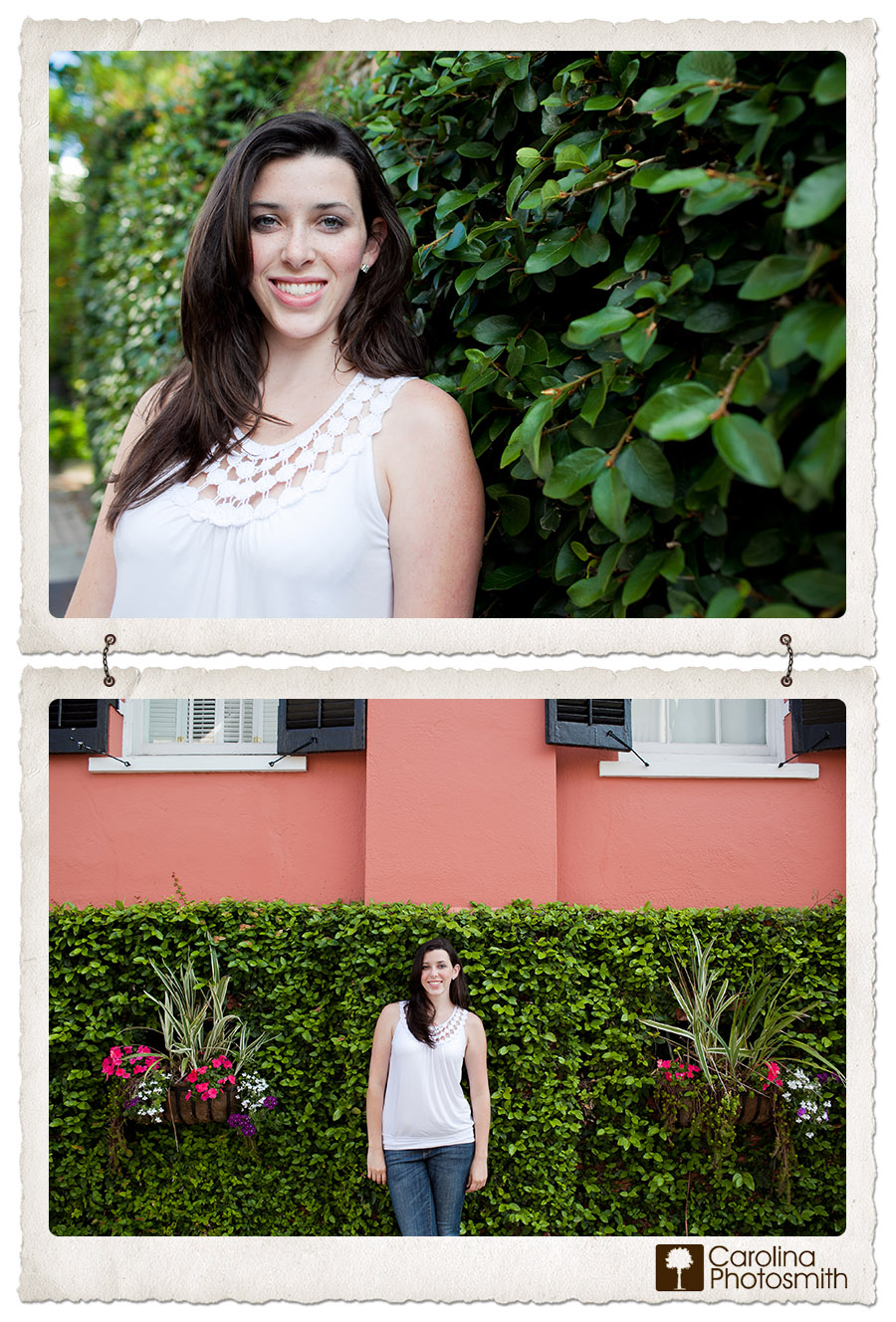 Ivy-covered walls and window boxes make perfect backdrops for senior portraits in historic Charleston