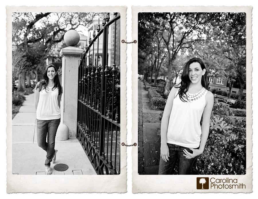 Historic Charleston's wrought iron and shady oaks provide scenic backdrops for portraits by Carolina Photosmith