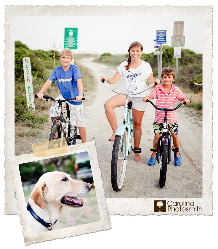 Kids biking at the beach while their fave furry friend looks on. Lowcountry living!
