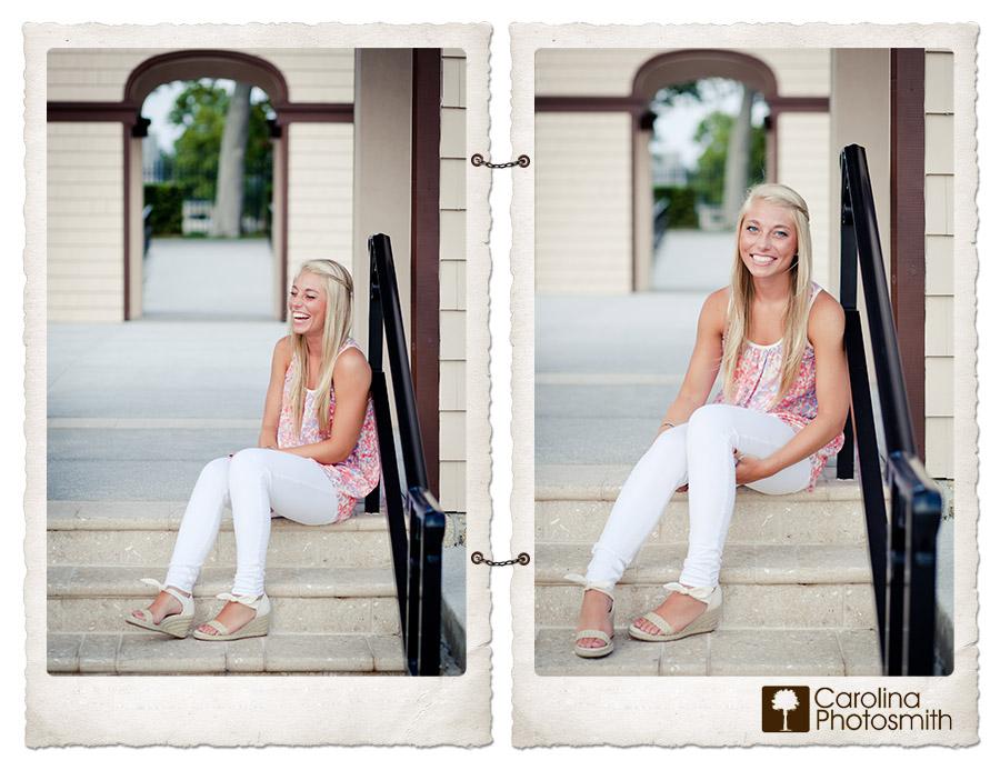 Senior girl cracks up during portrait session with Carolina Photosmith in Ormond Beach