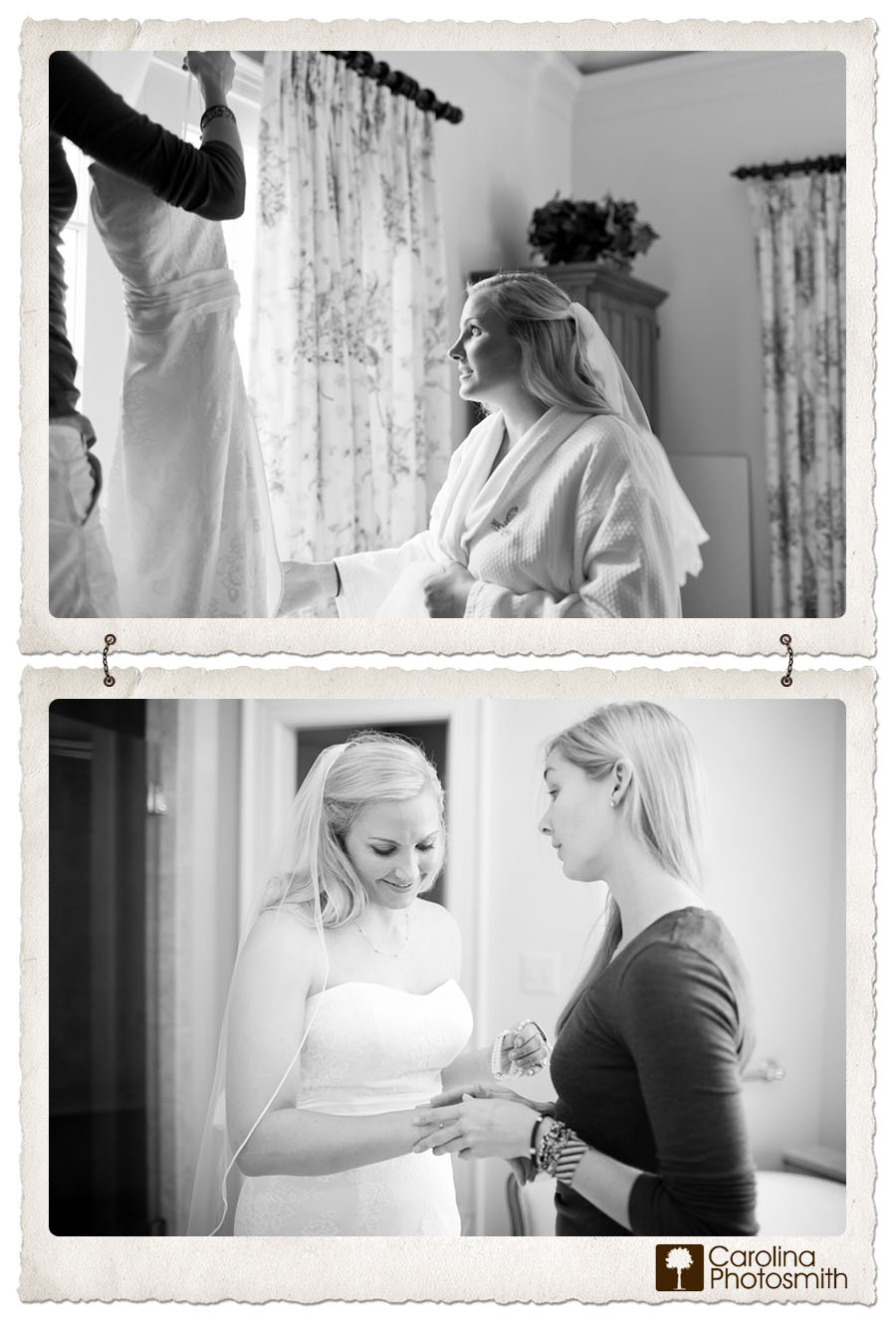Sister assists bride with dress rehearsal for wedding portraits