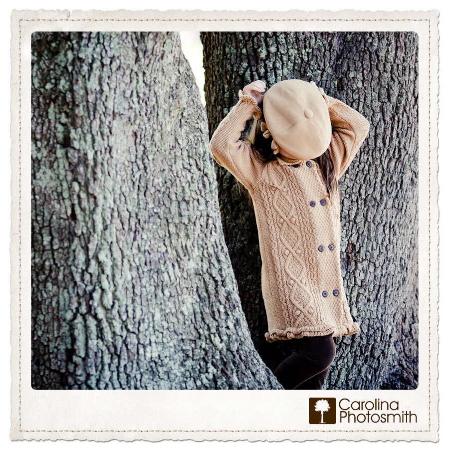 Tot with Topper and Camel Cables is That Girl. Faceless Friday portraiture by Charleston's Carolina Photosmith.