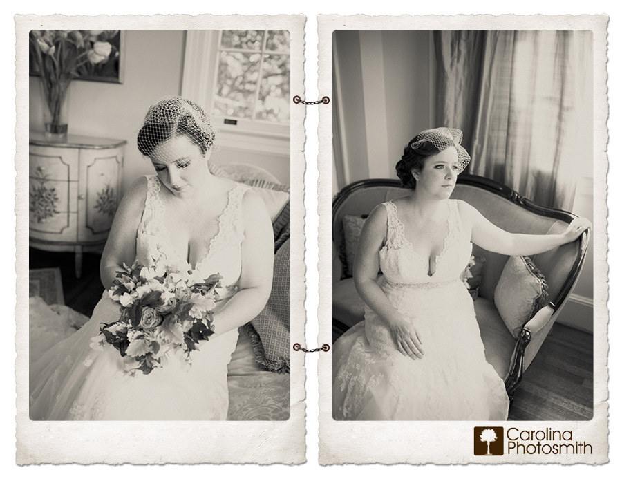 Bridal session at Charleston's Legare-Waring House at Charlestowne Landing
