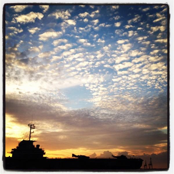 Charleston sunset over the USS Yorktown on the iPhone 4S. Copyright Carolina Photosmith.