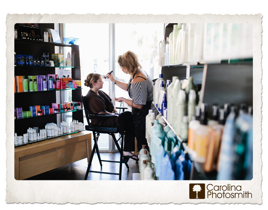Bride gets buffed and polished by makeup artist at Stella Nova Salon in Mt. Pleasant