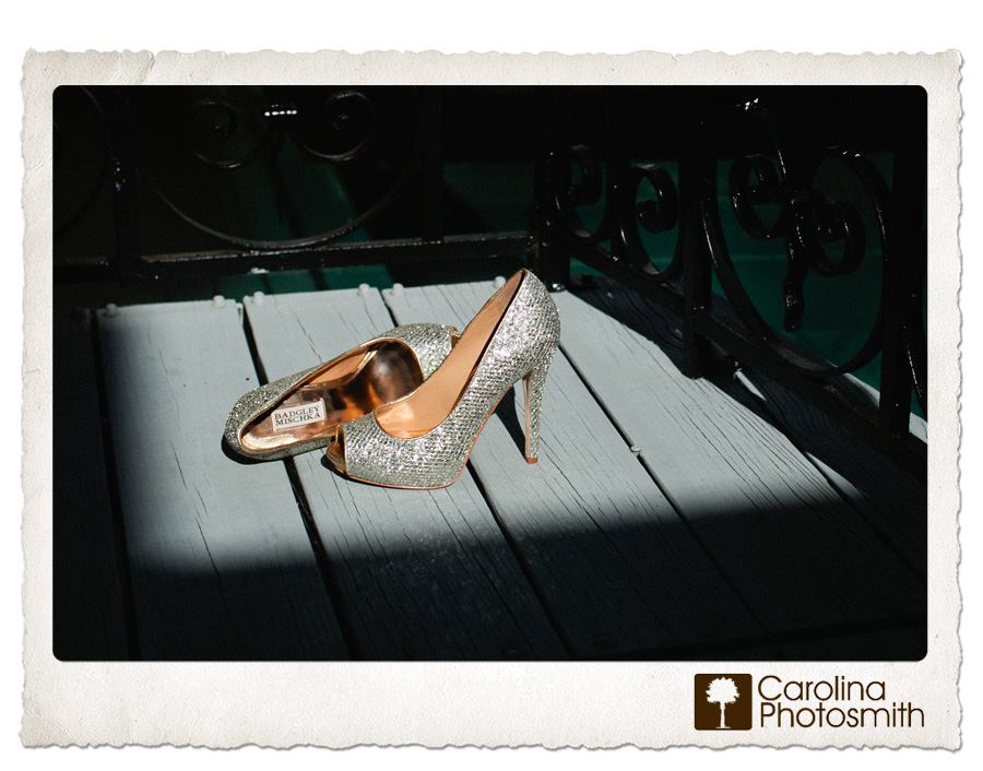 Bride's Badgley Mischka's sparkle even more in a patch of wedding day sunshine at the Jacob Bond House in I'On.