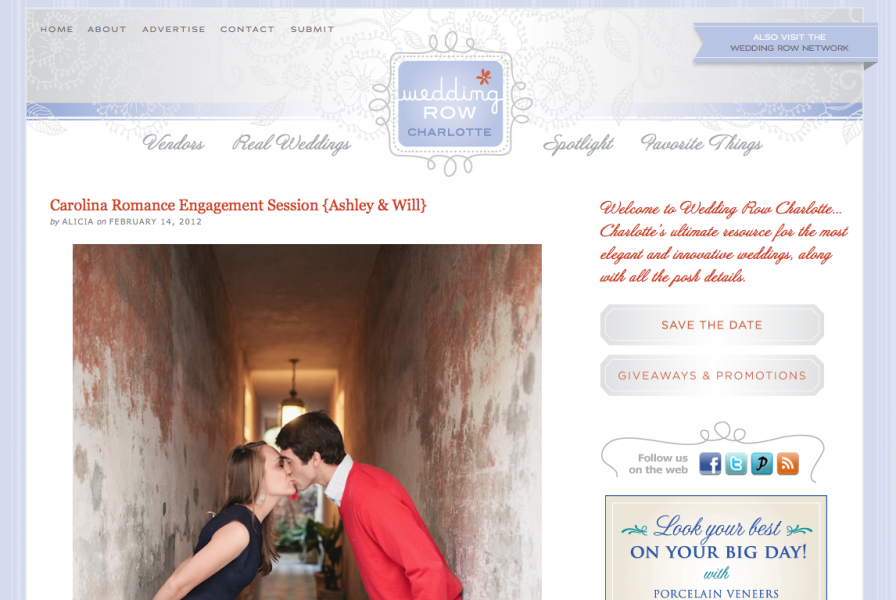 Engagement Photography by Carolina Photosmith featured on Wedding Row Charlotte for Valentine's Day