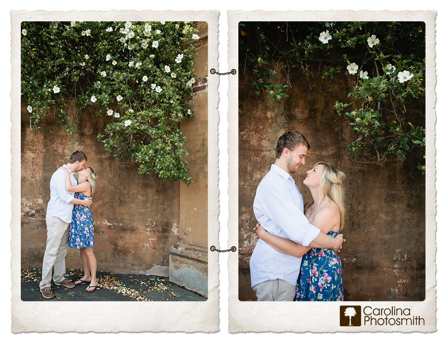 Kameryn and Kyle are hardly wallflowers, but they look adorable against this Charleston backdrop.