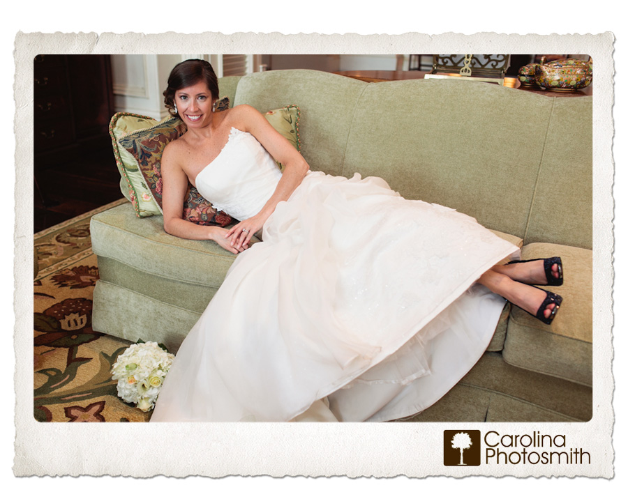 Bride lounges at The Sanctuary in sparkly blue shoes.