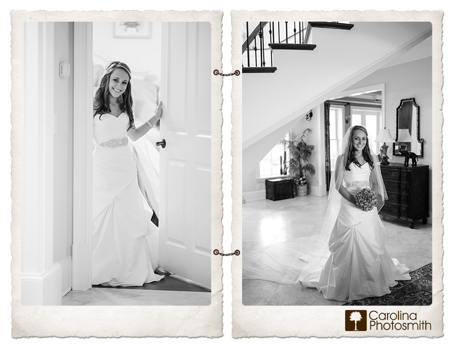 Black and white bridal portraits inside a lovely private home