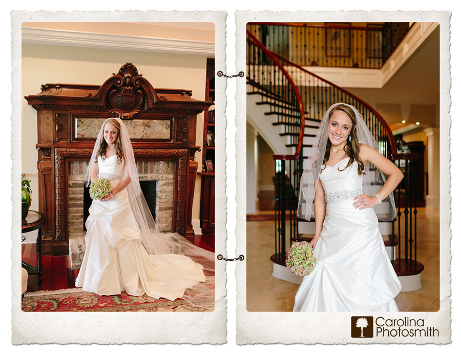 Bridal portraits indoors by stately fireplace and impressive staircase