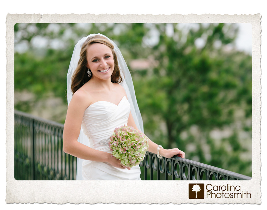 Classic bridal portraiture with iron railings and leafy goodness