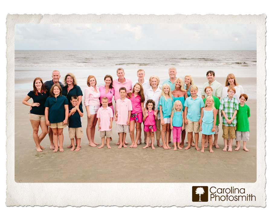 Three generations on the beach. Four colors, 26 people. Awesome!
