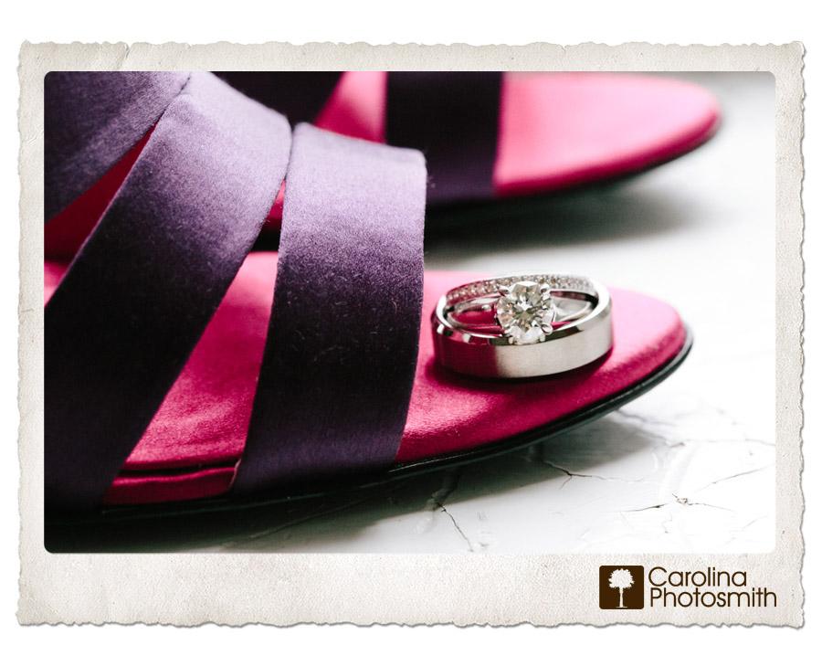 Put a ring on it. Aubergine wedding sandals. Copyright Carolina Photosmith.