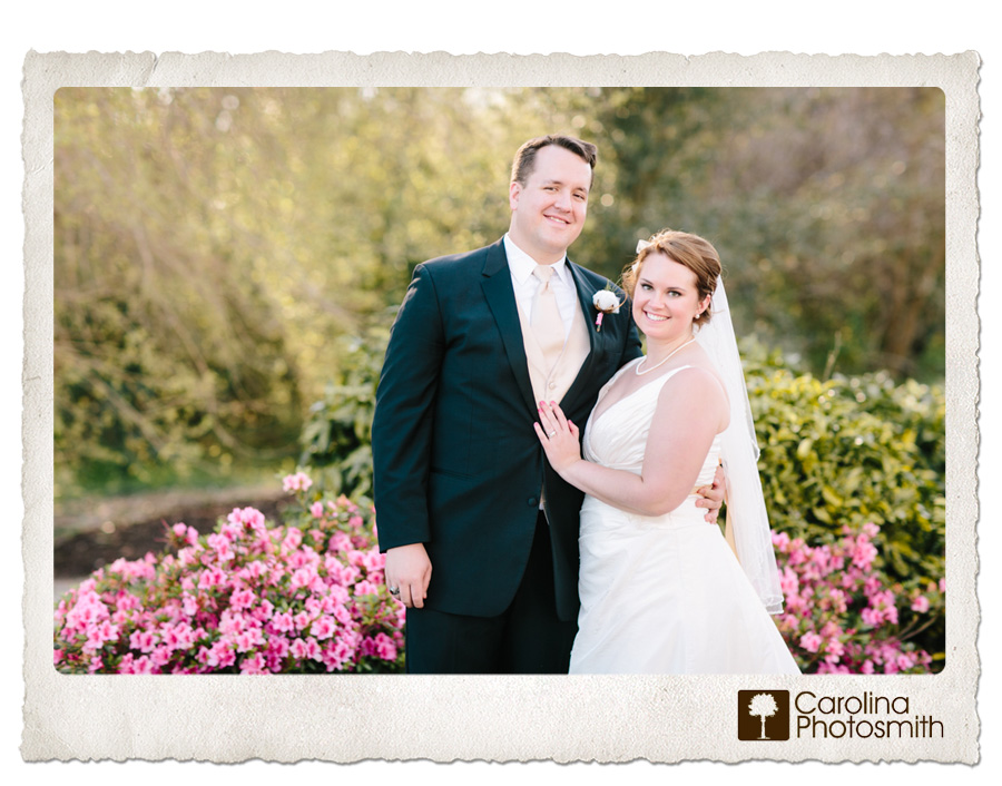 Ashley and Zach are married! Beautiful springtime wedding day portrait with pink azaleas. © Carolina Photosmith