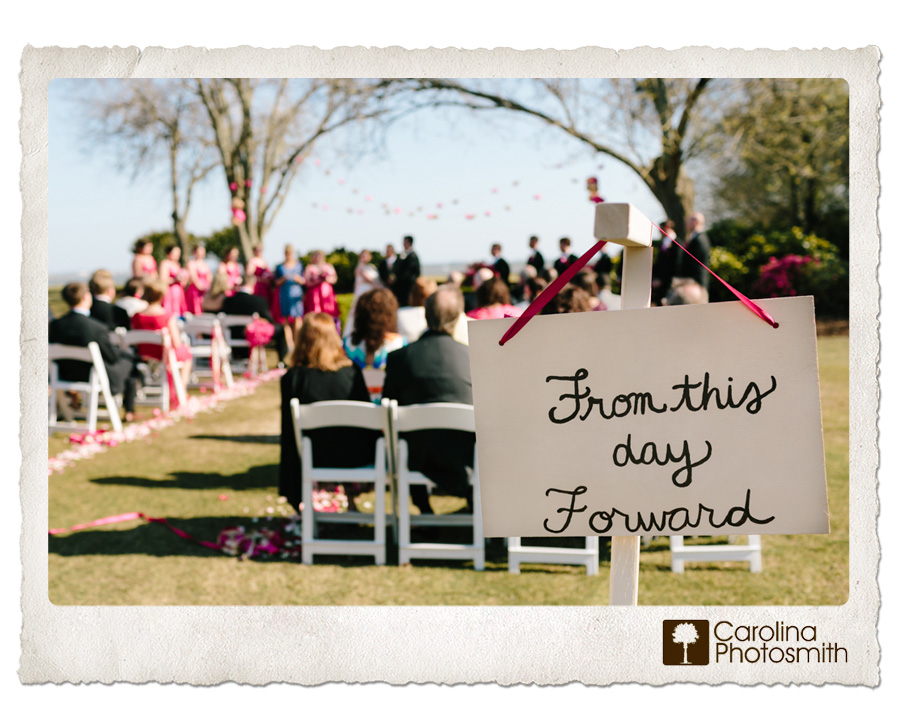 Outdoor ceremony on a spring day. Pink and colorful! © Carolina Photosmith