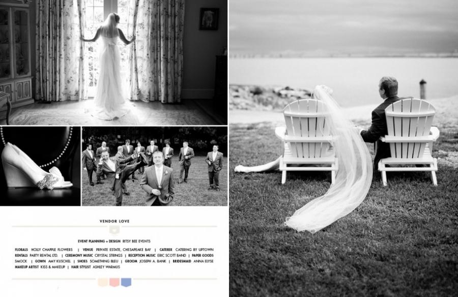 Chesapeake Bay wedding photography by Carolina Photosmith, featured in Smitten Magazine