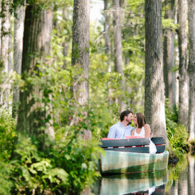 Romantic engagement photography at Cypress Gardens, a setting familiar from The Notebook. © Carolina Photosmith