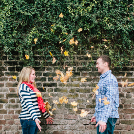Leafy engagement session during fall in Charleston