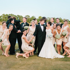 Jamie and JD's awesome wedding party. Featured DeBordieu wedding. © Carolina Photosmith