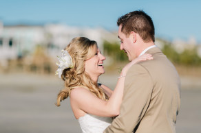 Newlyweds after intimate beach wedding on Isle of Palms near Charleston, SC