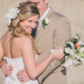 Intimate beach wedding shot by Charleston Photographer Carolina Photosmith