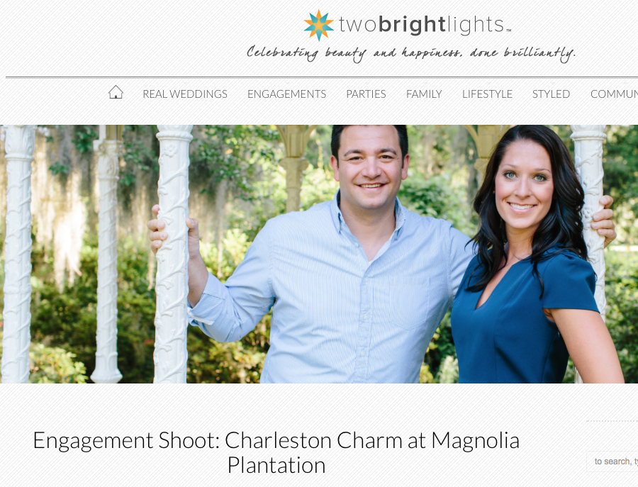 Carolina Photosmith engagement session featured on Two Bright Lights blog