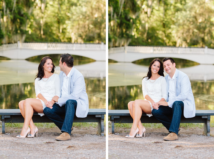 Timeless, elegant engagement portrait at Magnolia Plantation in Charleston