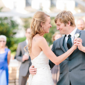 First dance at Lowndes Grove wedding. Groom's expression is priceless! © Carolina Photosmith