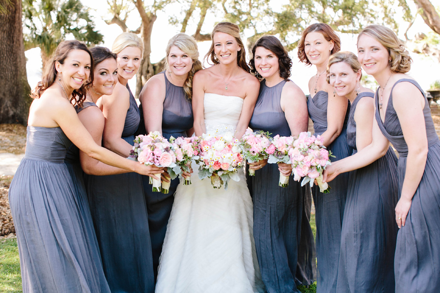Gray bridesmaids, pastel bouquets by OOH Events of Charleston. Lowndes Grove wedding photography by Carolina Photosmith