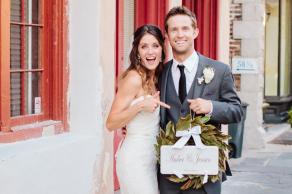 Fun California couple celebrates Charleston wedding after Broad Street garden ceremony © Carolina Photosmith