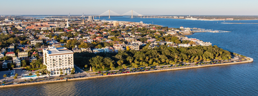 Colorful aerial view of downtown Charleston along the Battery and White Point Gardens. © Carolina Photosmith