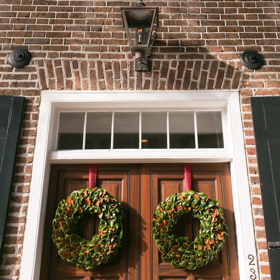 Magnolia wreaths on Charleston