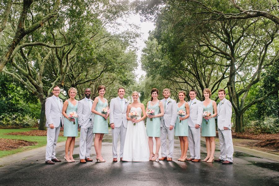Minty wedding party after a DeBordieu rain shower. © Carolina Photosmith