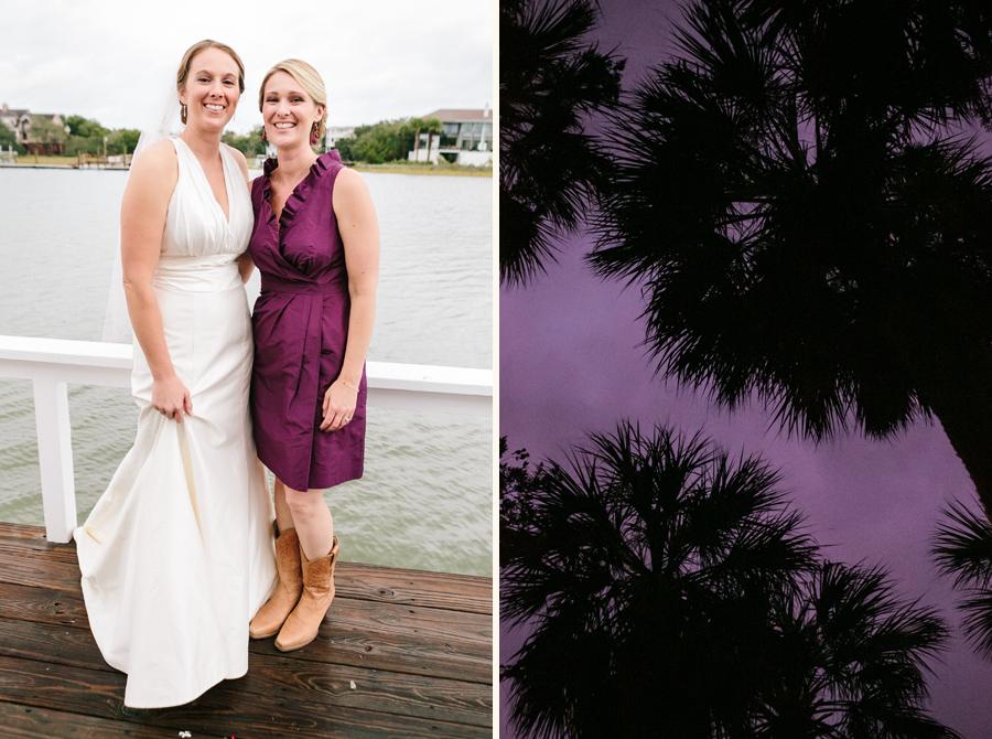 Marsala bridesmaids as Hurricane Sandy blew past SC. © Carolina Photosmith