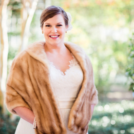 Meg's elegant winter bridal portrait in Charleston, SC. © Carolina Photosmith