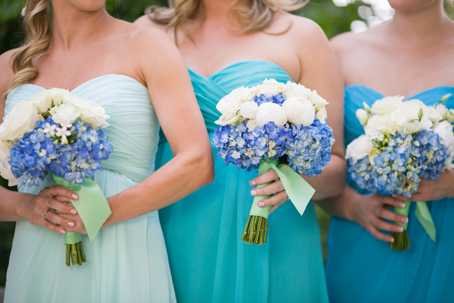Aqua bridal party with hydrangeas. Dresses by Mori Lee at Bridals by Jodi. © Carolina Photosmith