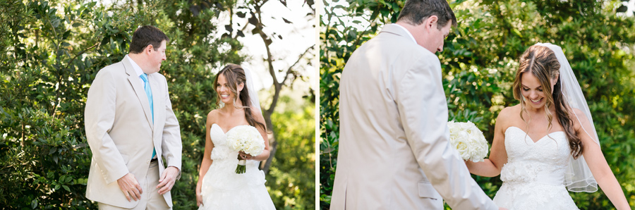 First look for bride-to-be at Daniel-Island-Club-outdoor-wedding. © Carolina Photosmith