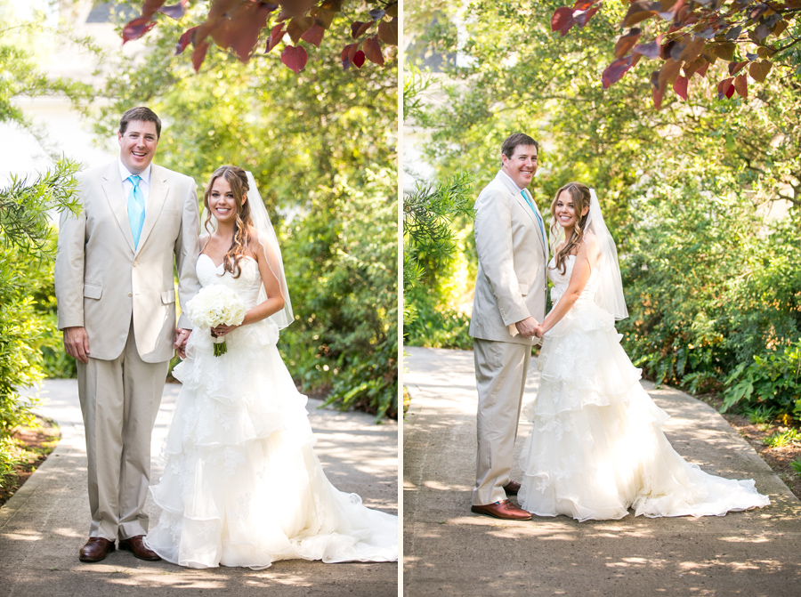 Newlyweds at elegant Daniel-Island-Club-outdoor wedding. Charleston wedding photography © Carolina Photosmith