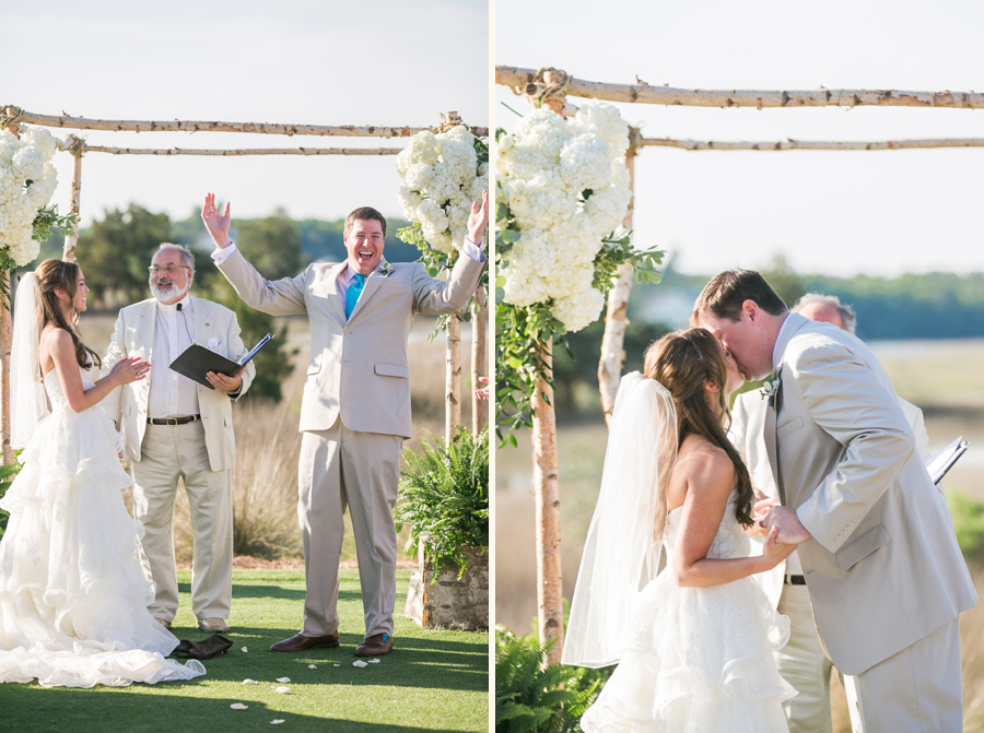 Finally glass breaks and he can kiss the bride. Whew! Funny wedding moments by Carolina Photosmith