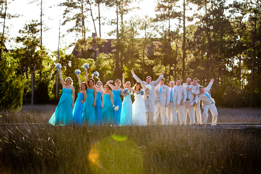 Fun-loving wedding parties are my favorite. Aqua on the marsh at Daniel Island Club. © Carolina Photosmith