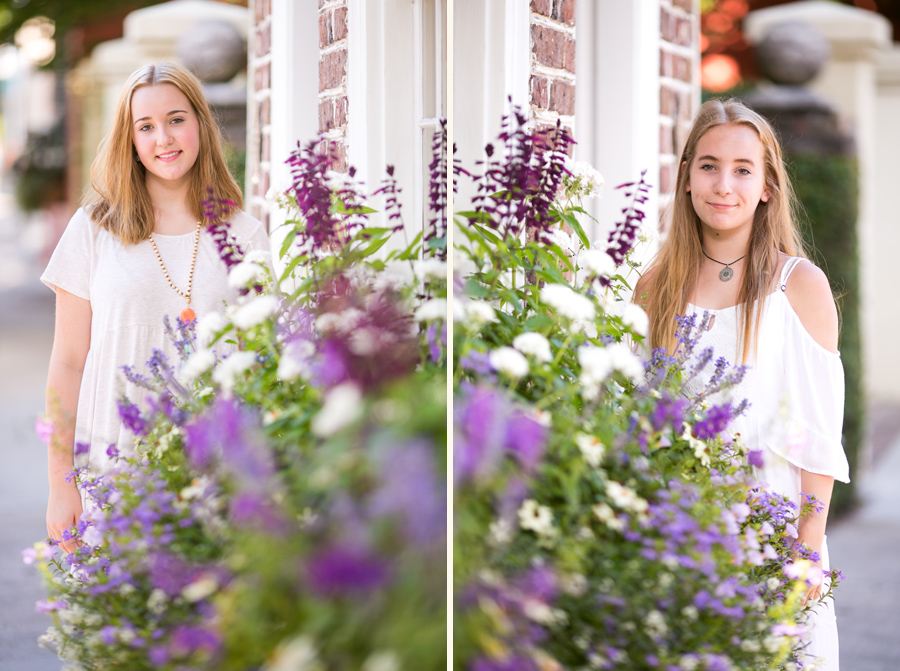 Sisters and Charleston window boxes. Family portraiture © Carolina Photosmith