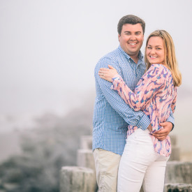 Fun and foggy Folly Beach engagement session © Carolina Photosmith