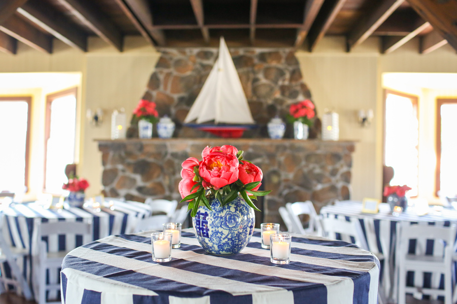 Navy and white wedding with coral peonies at Kennebunk River Club. ©Carolina Photosmith
