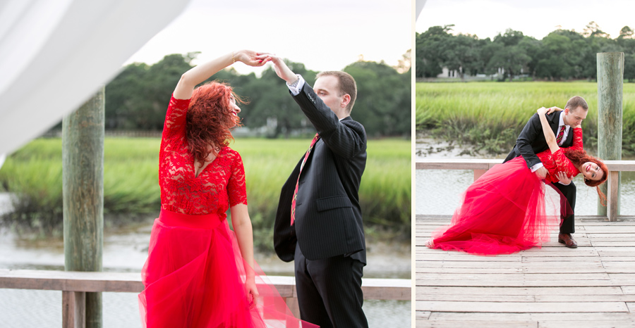 Romantic Boone Hall cotton dock wedding anniversary photos for a Russian ballroom dancer and her husband. © Carolina Photosmith