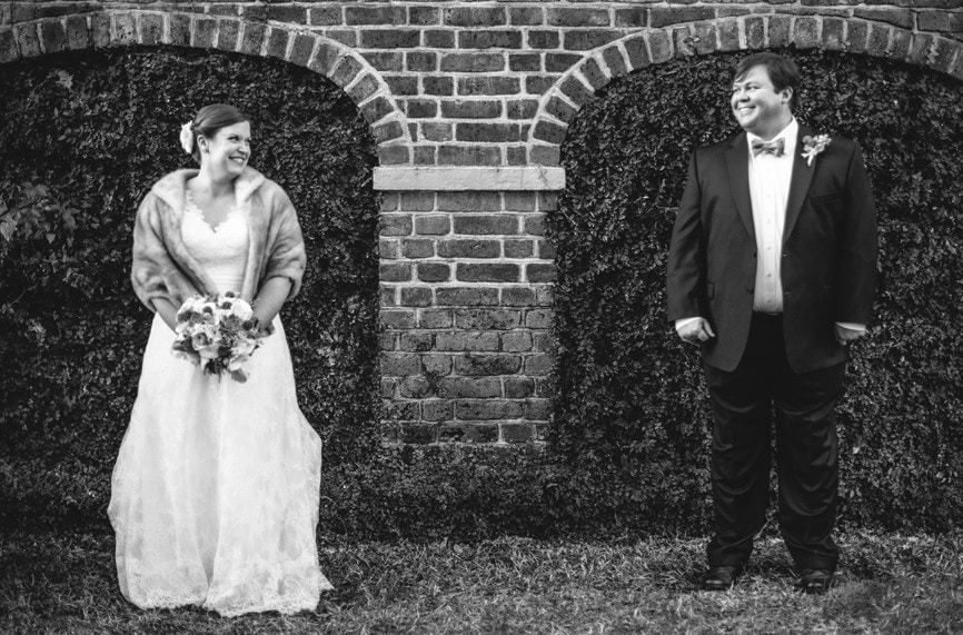 Meg and Chris took two minutes for portraits between ceremony and Hibernian Hall reception across the street. ©Carolina Photosmith