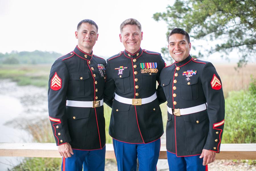 Wedding photography highlights by Carolina Photosmith: Marines at a small destination wedding at Boone Hall Plantation.